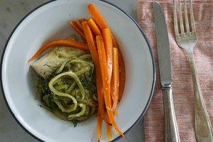 Parchment Baked Halibut & Veggies