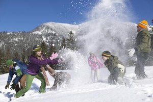 A family snowball fight is just one of many outdoor adventures to be had.