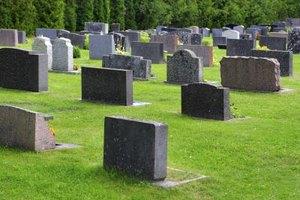 Graveyard with tombstones.