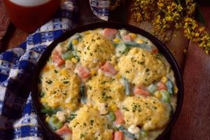 Chicken and dumplings is a hearty and healthy meal.