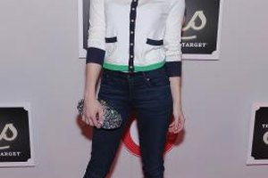 Actress Emma Roberts rocks collegiate-worthy dark-wash denim and a cardigan at The Shops at Target launch party.