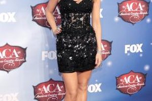 Recording artist Jewel pairs a black lace dress with sleek metallic pumps for the American Country Awards in 2013.
