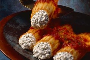 Ricotta provides the traditional stuffing for manicotti pasta.