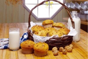 Brown, overripe bananas make tasty banana-nut muffins.