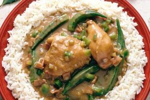 Gumbo is often served on a bed of rice.