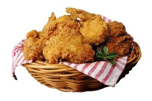 Chicken is the most common fried meat with a flour crust.