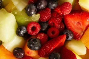 Fruit salad spooned into pretty cups is an easy and healthy appetizer.