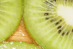 Kiwi contains an enzyme that reacts with oxygen and can turn the fruit brown.