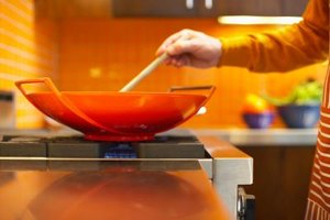 A wok cooks meat and vegetables evenly and quickly.