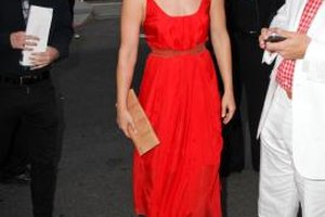 Ali Larter wears a red dress to the Festa Italiana with Giada de Laurentiis in Los Angeles.