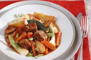 Thick beef stew is hearty comfort food.