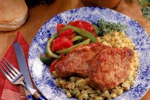Boneless pork chops cook in about the same amount of time as chicken breasts.