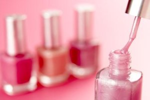 Camouflage nail art can be any grouping of three or four nail polish colors.