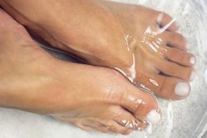 Mix up a homemade foot soak for a complete salon experience.