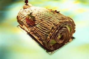 Some Christmas cakes are decorated to look like yule logs.