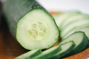 Thinly sliced cucumbers can be blanched quickly for a variety of uses.
