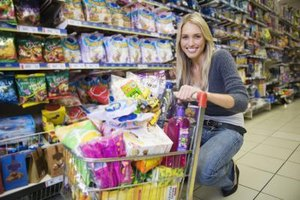 Stock up on groceries once a month to save time and money.
