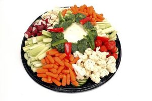A vegetable platter with a creamy light ranch dip is an ideal low-calorie appetizer.