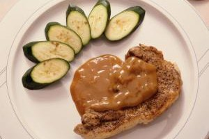 Serve a gravy with your pork chop to disguise the saltiness.
