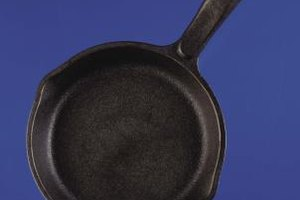 A cast-iron skillet holds heat and cooks evenly.