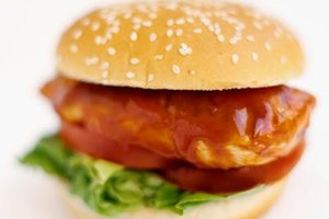 Barbecue sauce is a base for a Western chicken burger.