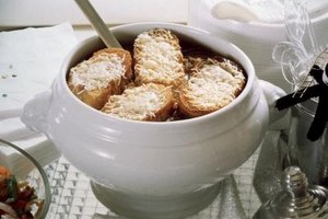 Make a hearty lunch out of French onion soup and side dishes.