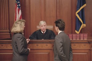Judge and lawyers in courtroom