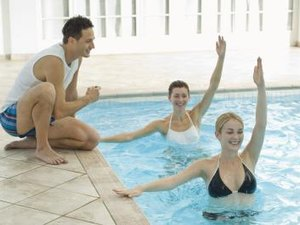 Water Aerobic Exercises With Swim Boards