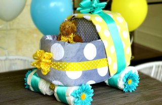 [Article Image] - DIY Baby Carriage Diaper Cake