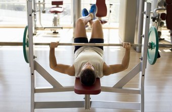 The bench-press exercise strengthens the upper body.
