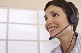 A telephone customer service officer addresses customer concerns.