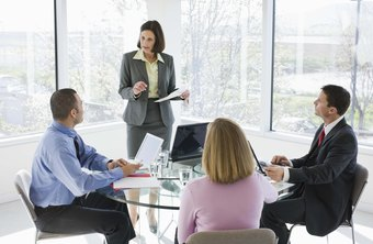 Work team meetings are a common setting for internal communications.