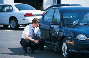 Insurance appraisers inspect vehicles damaged in accidents and estimate repair costs.