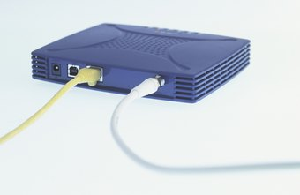 An Ethernet, or data, cable transfers information between the router, the modem and the computer.