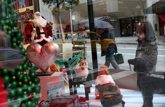 Fashion coordinators design special displays for the holidays.