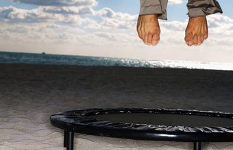 Certain exercises build lower leg strength on a mini-trampoline.