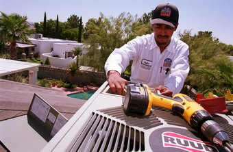 Air conditioning technicians work on rooftop and in-building systems.