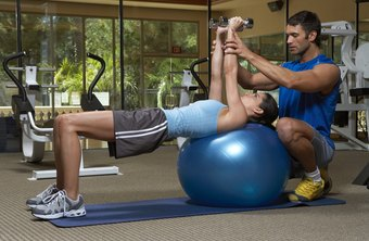 Stability ball dumbbell presses can get your chest and shoulder muscles burning in horizontal shoulder adduction.