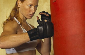 Working out with a punching bag can tone muscles and relieve stress.