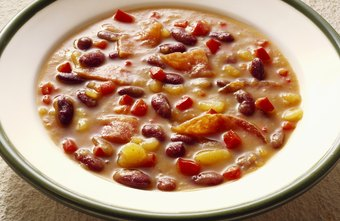 Add beans to vegetable soup for a healthy, fiber-rich lunch.