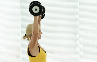 The standing shoulder press works a number of primary and secondary muscles.