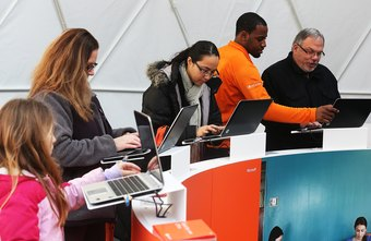 Customers try out Microsoft Office at the launch event in January 2013.