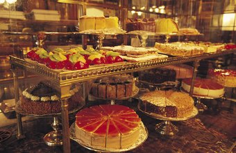 Luscious cakes on display encourage repeat business.