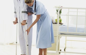 Rehabilitation nurses work with patients who must learn new ways of walking.