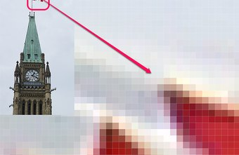 Magnified by 3200x, the pixels making up the flag become visible.