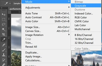 Grayscale is available under the Image menu's Mode submenu.