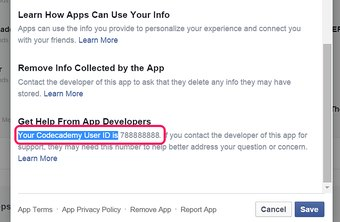 On Facebook, an app user ID is the same as your Facebook ID.