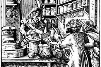 Pharmacists' and druggists' duties descend from medieval and colonial apothecaries.