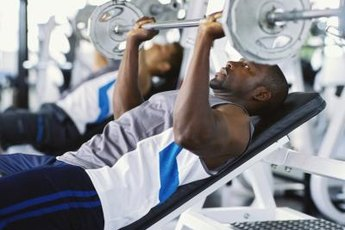 Bench pressing is one way to work the chest, shoulders and arms.