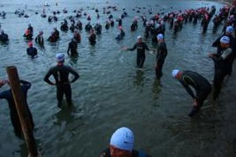 Swimmers get ready to take the plunge at a half Ironman in New Zealand.